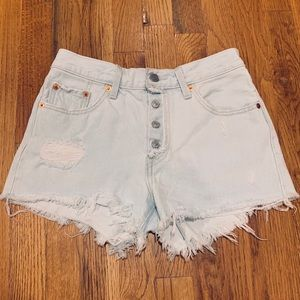 High Waisted Levi's Bleached Denim Shorts